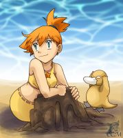 Misty and Psyduck: Beach by MiasOtherFanart