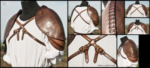 Heavy Formed Leather Spaulders by Adhras