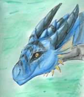 Watercolor dragon face by felineflames