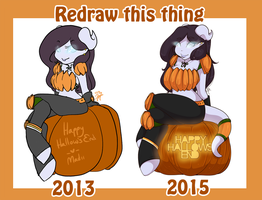 [Redraw comparison] Happy Hallow's End by CheshireCatSmile37
