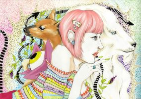 The deer, the girl and the lion. by Ooroo