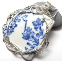 Blue Sea China Necklace by sojourncuriosities