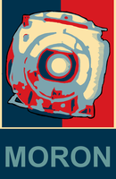 MORON- A parody of Obama's Hope poster ~ Wheatley by GingerMessiah