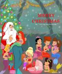 The little mermaids and Santa by Sweet-Amy-Leah