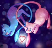 Two Mews, One Love -collab- by crayon-chewer