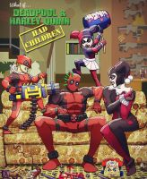 what if.. deadpool and harley quinn had kids?... by m7781