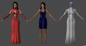 Ashley, Liara and Miranda, Citadel Dress by nach77