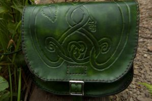 hand made green leather bag by green-eternity