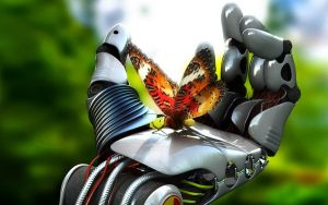 Robot Hand And butterfly by Theicemanstudios