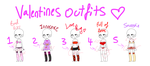 Valentines Day outfit adopts 2! 2/5 open! by Lime-Clover