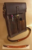 Leather bag for tablet and sketchbook by wylieblais