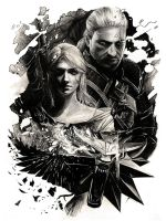Geralt and Ciri - The Witcher (pencil drawing) by WildGoska