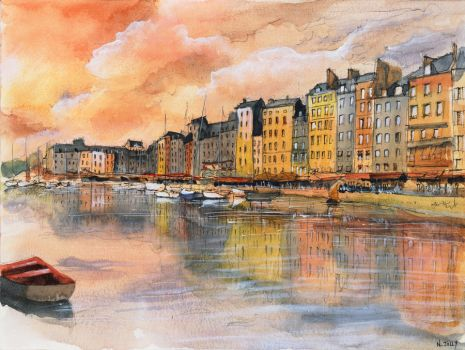 (SOLD) Sunset over Honfleur - Watercolor by nicolasjolly