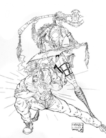 Vintage Drawings - Amulet and Magic Sword Girl BW by BillyJebens