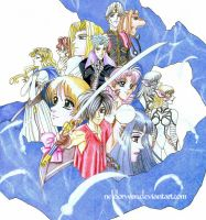 Escaflowne poster hand painted by Neldorwen