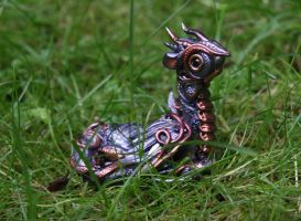 Falko - Steampunk silver and copper dragon by Akalewia