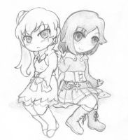 Rwby Sketch - Weiss and Ruby by MistressAmerah
