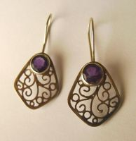 Silver filigree earrings by GeshaR