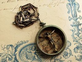 Crucifix Assemblage Necklace by asunder