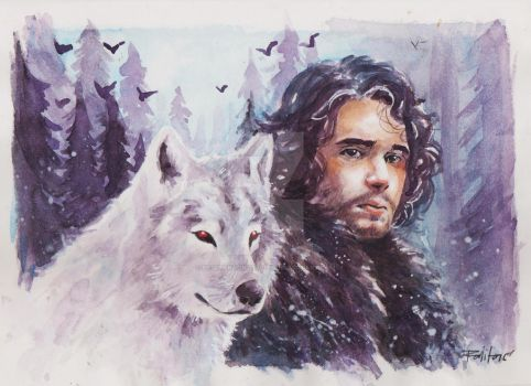 Jon Snow and ghost by ermitanyongpalits