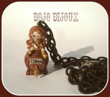Cowgirl on barrel Necklace n3 by Bojo-Bijoux