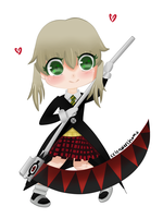 Soul Eater Maka (and Soul scythe form) chibi by cclenaleechama