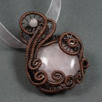 Copper and Rose Quartz Necklace by Gailavira