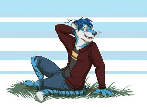 Commission: Black-and-Blue-Tiger (Glitch) by Temiree