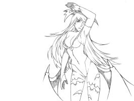 Darkstalkers Morrigan uncolored version by mamat88fiction