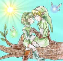 Link and Saria holding hands by EmberRoseArt
