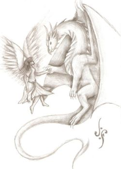 Dragon and angel - sketch by Love-Only-Knows