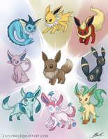 Eevee Evolutions - Power of Possibility by caycowa