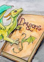 Dragon and Book ACEO by The-GoblinQueen