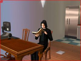 Snape reading Deathly Hallows by Ashkihyena