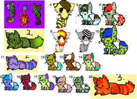 20 Unsold Cat Adopts -OPEN- by caramel-dixon