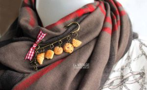 Chic French Pastry Pin Brooch Accessory for Scarf by LaNostalgie05
