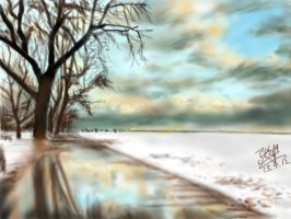 Winter sky and reflection (iPad painting) by chaseroflight