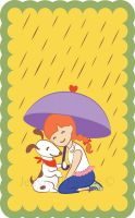 Girl with a dog holding an umbrella in the rain by JellyRollDesigns