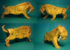 smilodon populator by palaeorigamipete