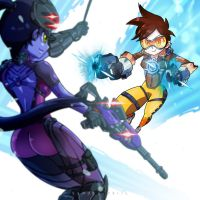Tracer VS Widowmaker by smokeragon