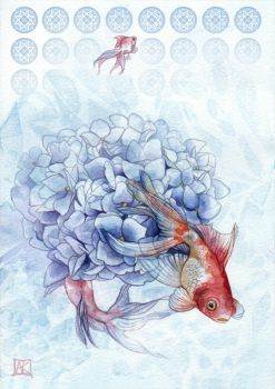 Hydrangea and Goldfish by couchmochi
