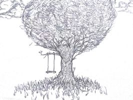 An Old Tree and A Swing by Dexdayr