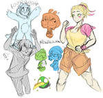 Human Angry Birds Sketches by ABSWillowFan
