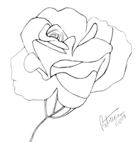 Blooming Rose line art by Nisshoku-art