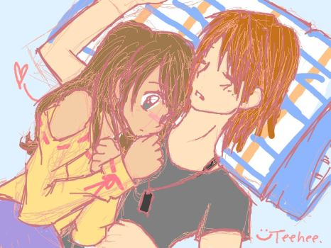 Anime Couple Cuddle Together by LfurvnQ