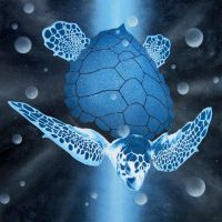 Cosmic Sea Turtle Painting by Gcrackle1