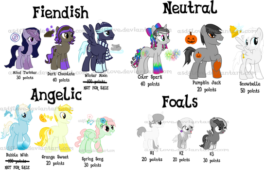 Aligned Ponies Point Adoptables by asdflove