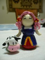 Harvest moon Lyla n cow figure by chibimemories