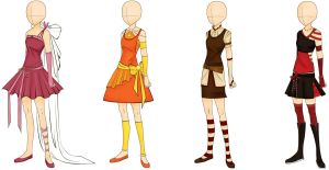 Doll Outfit Designs in colour by squishypuff