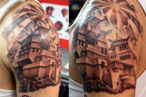 Temple tattoo on shoulder by UptownPete